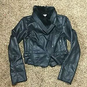 NWT Jennifer Lopez Faux Fur Leather Jacket M Black
